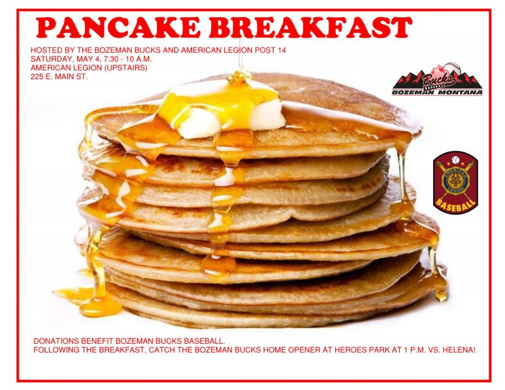 Join us for our Pancake Breakfast at the Legion, Saturday May 4th, 7:30 - 10:00 a.m.